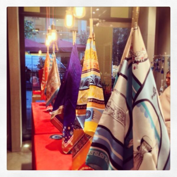 Grecian chic silk scarves at Liana Vourakis boutique, City Link!