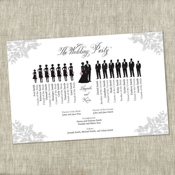 Wedding Party Bridal Party Silhouette Program by TheChambrayBunny, $45.00