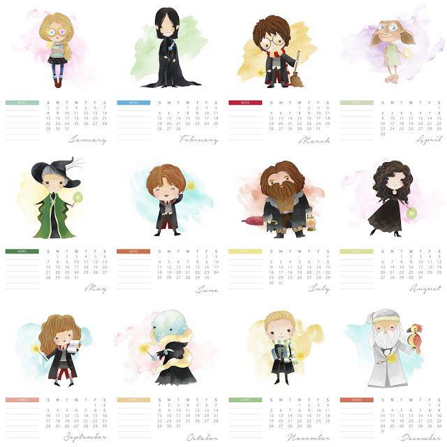 Free Printable 2017 Harry Potter Calendar.