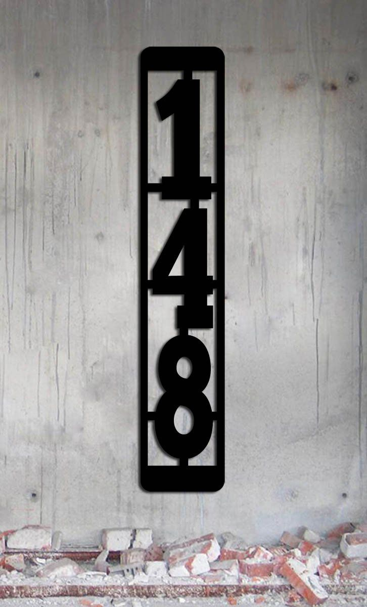 Vertical Metal Mailbox Post Address Sign - 3 Numbers -3.4 Inches x 18 Inches SET OF 2 ADDRESS SIGNS Large House Numbers - Industrial - Modern Industrial - Modern Made In USA. Modern / industrial vertical address sign with large numbers. This sign is for 3 numbers. There is another option in my store for 4 numbers. The numbers are 4 3/4 inches tall. Overall dimensions are 3.4 inches wide by 18 inches tall. These are designed to go on a standard mailbox post - If you only need one address…