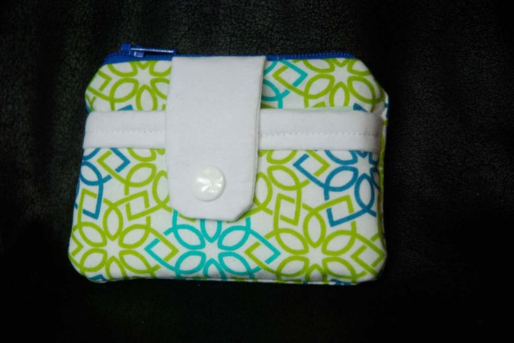 blue, green and teal geometric star, Coin and Card pouch with snap