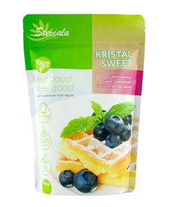 Stevia suiker Steviala Kristal Sweet is een 100% natuurlijke suikervervanger. Steviala Kristal Sweet bestaat uit Stevia en Erythritol.