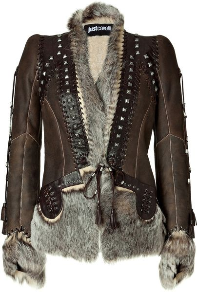 """CRUSH"" JUST CAVALLI   Chocolate Boho Leather and Fur Combo Jacket"