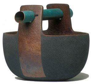 Tom Smith. Open Vessel With Copper Tube, 1998. Private Collection. 30.5 x 20.5 (+10) x 35.5 cm, Clay, wheel thrown, altered and cut, Raku fired, patinated copper