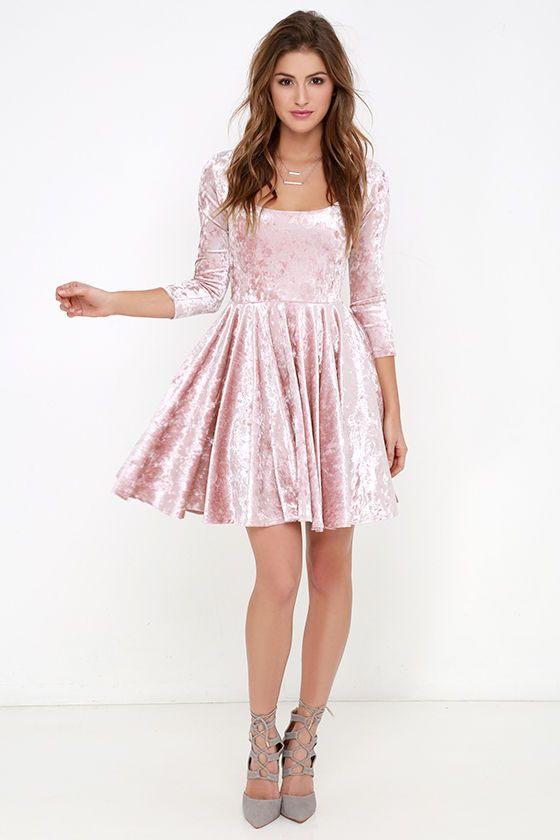 Whats better than love at first sight? The everlasting love that you'll have for the I Love You Amore Blush Pink Velvet Skater Dress! Luxuriously soft and stretchy velvet fabric hugs your curves from a scoop neckline down half sleeves and a fitted bodice with darting. A fit and flare silhouette is created by a tapered waistline above a flirty skater skirt. Lined in stretch knit. Self: 68% Acetate, 32% Rayon. Lining: 100% Polyester. Dry Clean Only.