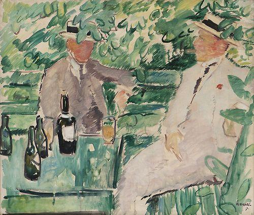 blastedheath: Arne Kavli (Norwegian, 1878-1970), Two Men in a Garden, 1919. Oil on canvas, 65 x 76 cm.