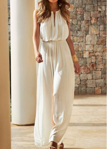 High Waist Sleeveless Solid White Maxi Dress on sale only US$24.09 now, buy cheap High Waist Sleeveless Solid White Maxi Dress at modlily.com
