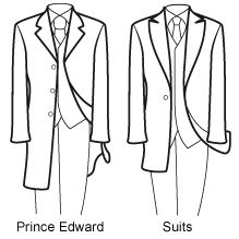 Know Your Suits  Prince Edward is shorter than the Frock Coat, with a certain likeness to the Teddy Boy Drape. The style is minimal and sharp. Available in a variety of fabrics and colours, Prince Edward's are ideal for Weddings, Dinner Dances and even just a plush night out.  Suits or Lounge Suits have the least fuss and are an ideal all-rounder, suitable for virtually any formal occasion, excluding Black Tie.