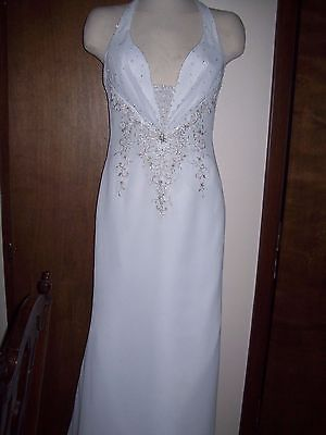 Mia Solano wedding gown NWT size 6 halter top with zipper back w/train