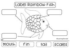 Free printable for the Rainbow Fish by Marcus Pfister. Kindergarten literacy cut and paste activity: label the rainbow fish :)