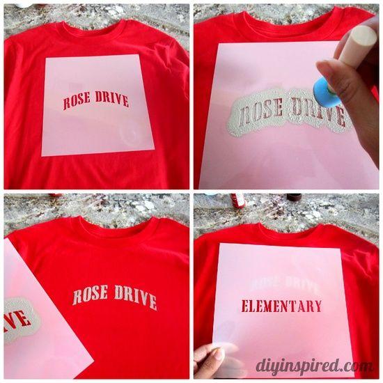 DIY Stenciled School Spirit Shirts.