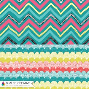 """""""Zig Zag"""" & """"Hand Drawn Scallop"""" Gift wrap concept surface pattern designs by Robyn Bockmann COPYRIGHT 2014."""