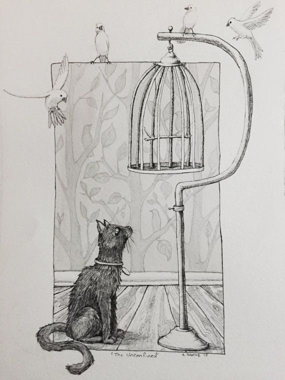 I am so happy to announce that I have a small edition of high quality artist prints of my own work to sell!! Unconfined is a playful piece of confident canaries taunting a cat with their freedom from both the cat and the cage. While creating this piece I learned that canaries are a symbol of freedom, a fact that I found ironic since they are one of the most commonly caged birds, which made them perfect for the drawing about being free! * Paper size is about 12x8.5 the image is slightly…
