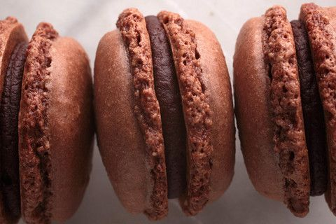 French Chocolate Macarons with Chocolate Ganache. I will challenge myself with macarons someday...