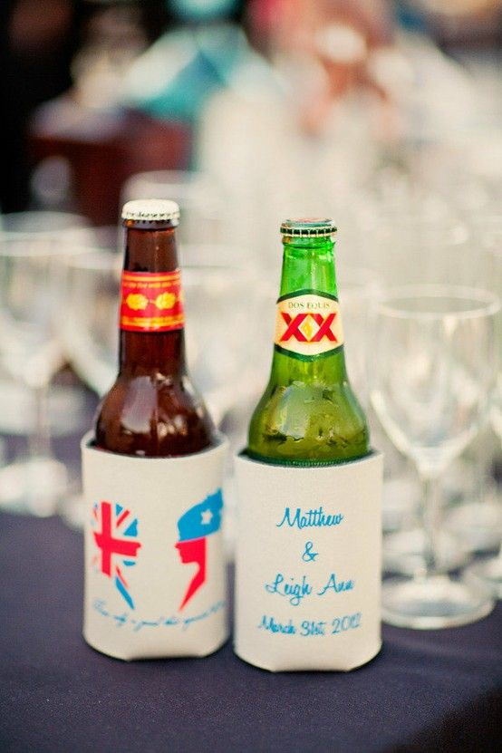 beer cozies with flag of bride & groom @ Wedding Day Pins
