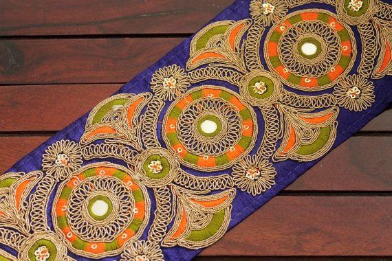 1 yard-bleu tissu en soie brodée de Trim Floral Design-Sari Boder-soie ruban-Crazy Quilt garniture tissu Sari de soie tissu bleu à la verge