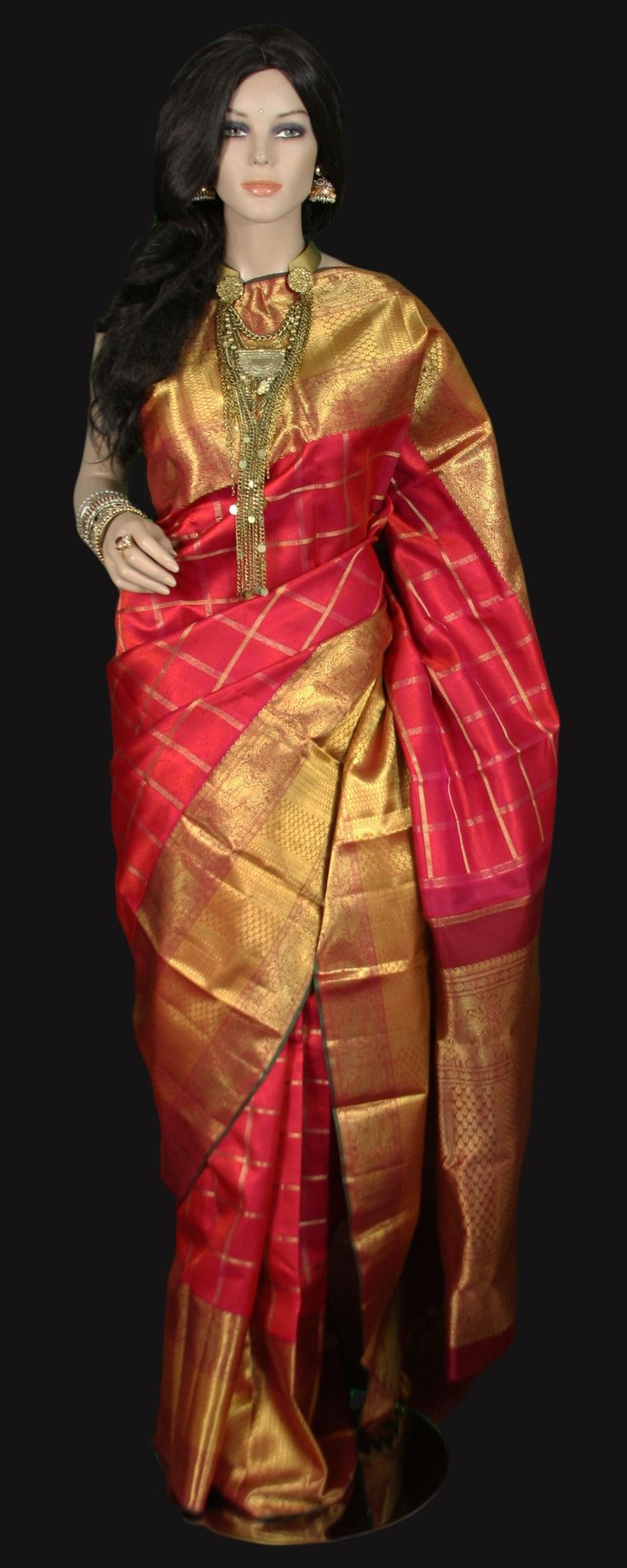 Red Kanjeevaram Bridal Saree with Zari Checks