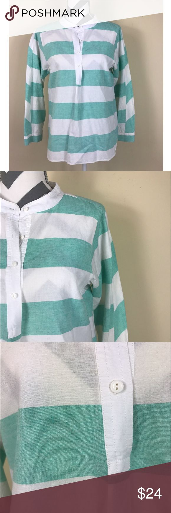 """{Madewell} Broadway & Broome Green Rugby Top Excellent Pre-loved Condition, Like New!! Madewell Broadway & Broome Womens Green White Fairgame Rugby Striped Top   Size: Women's Medium  Measured laying down flat: 24"""" long, 20"""" across bust, 22"""" long sleeves Material: No Tag - was cut out, based on consistency most likely a cotton/linen blend Description: Light weight, no stretch, long sleeves with double cuff, Y-neckline with buttons half way down, slightly sheer  Comes from a smoke free home…"""