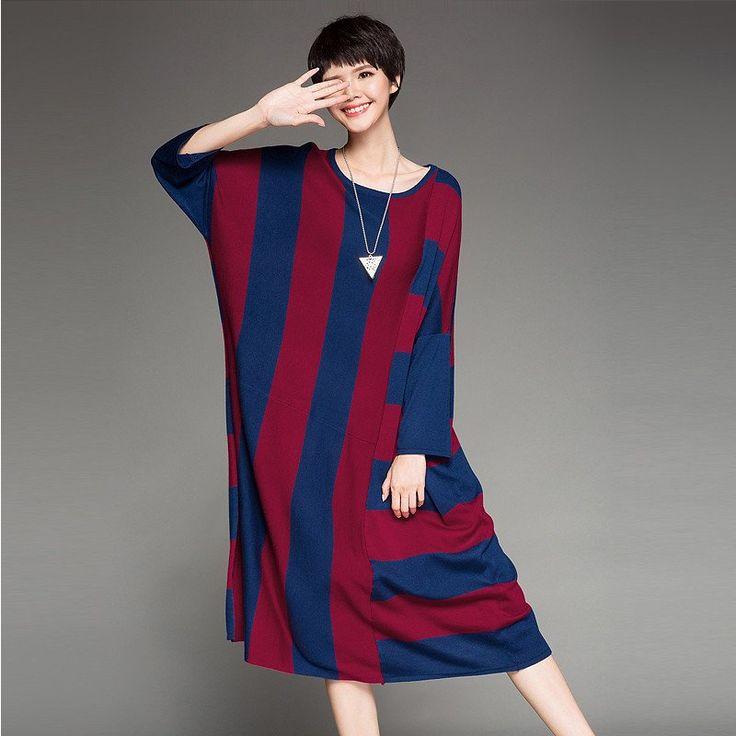 Maxi Size Stripe Long Sweater Dress Loose Women Clothes Q7122A