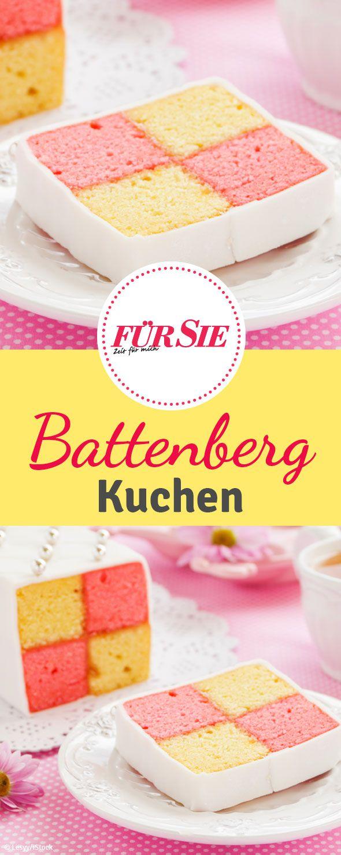 Der Battenberg Kuchen ist ein Biskuitkuchen aus rosa und gelb gefärbtem Teig, der zum Anbeißen lecker aussieht.