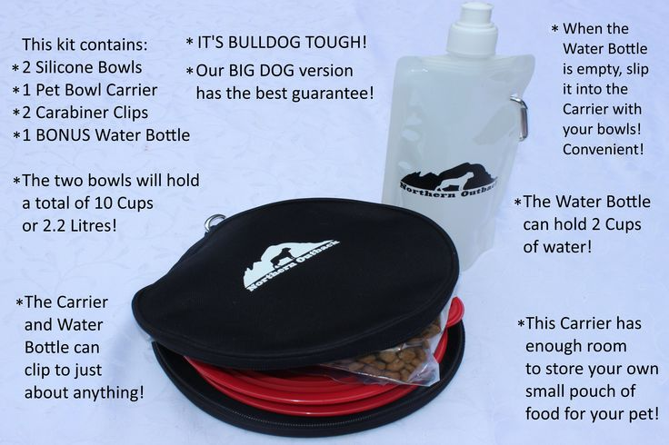 Northern Outback SuperSized Travel Pet Bowl Carrier Kit  has TWO 5 CUP Silicone bowls, a BONUS 2 CUP Water Bottle and TWO Carabiner Clips!!  Excellent for all sizes of Dogs or Pets or hey, if you are a Camper or Hiker, this is for you!