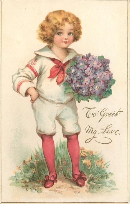 TO GREET MY LOVE  girl in white sailor outfit, red stockings holds bunch of blue flowers