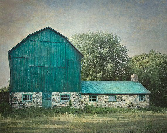 This barn photograph was taken at the side of a country road in Ontario Canada. This photograph depicts a rustic blue green barn. To view PRICING select SIZE using drop-down menu. I can print my images in almost any size. If you dont see the size you want please let me know. SMALL