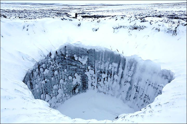 Images from inside one of the recently formed Siberian craters.  Three of these mysterious holes were discovered over the past summer.  The leading theory for their cause is an explosive burst from thawing methane hydrates.  Analysis is pending.
