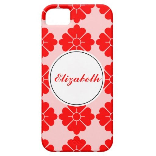 Personalizable floral pattern phone cases - Personalize by adding your own name. The design (in red) is tileable (you can scale it up or down to customize it). The background (in light red/pink in the preview) can be changed to any color you like. If you don't like to personalize (you want only the pattern), you can remove the border/frame and text.