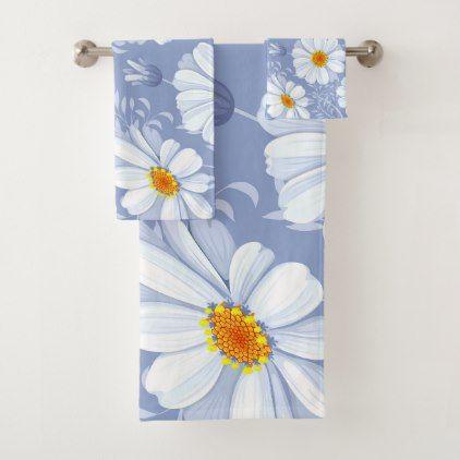 Spring Summer White Flower Blue Pattern Bath Towel Set - floral style flower flowers stylish diy personalize