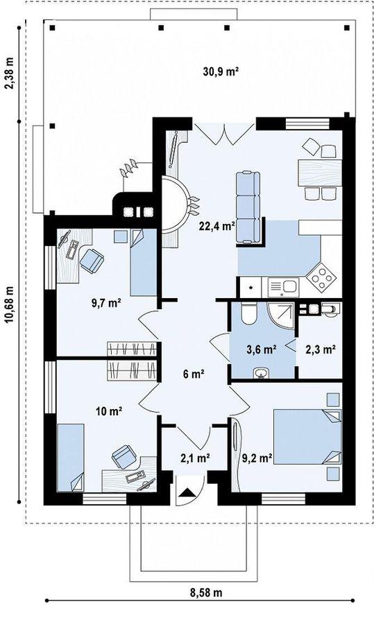 DOM.PL™ - Projekt domu SZ5 Z16 D CE - DOM OZ1-56 - gotowy projekt domu