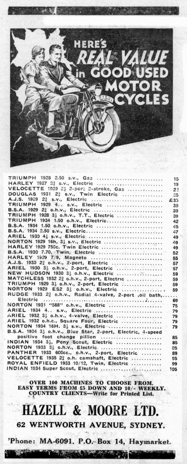 1935 Used motorcycles Australia advertisement *