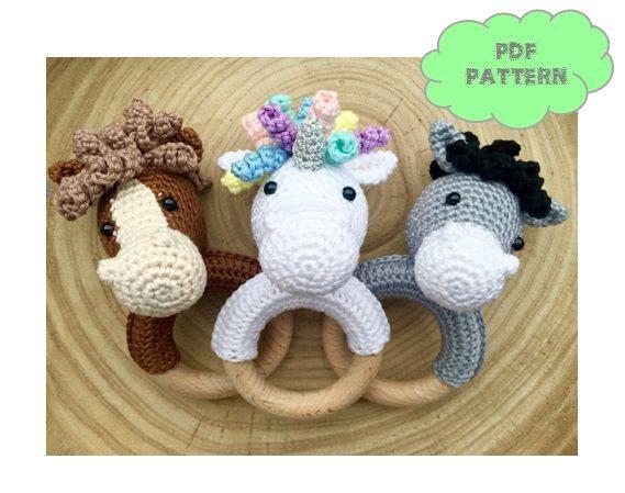 CROCHET PATTERN hochet cheval (+ description supplémentaire pour l'âne et la Licorne)