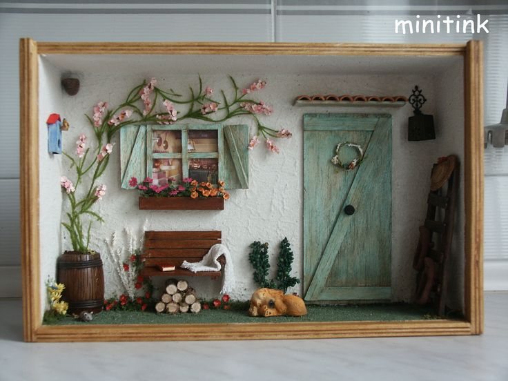 Miniature Children S Bedroom Room Box Diorama: Miniature Roombox The Green Door