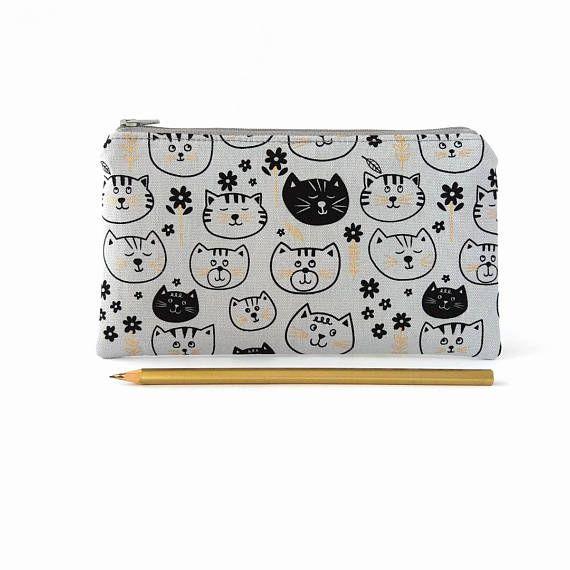 Cute cats pencil pouch Pencil bag Zip up pouch Zipper
