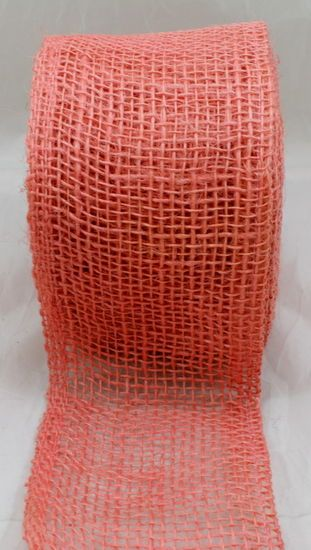 Coral and Burlap Wedding Centerpieces   Jute Natural Ribbon in Coral   Wedding Decorations   Same Day Shipping