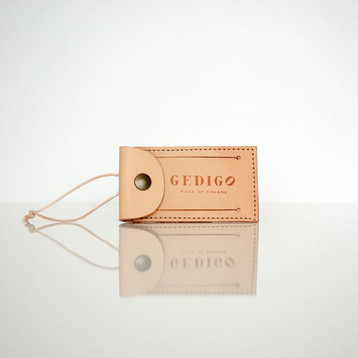 Bag Tag Travel with style. Mark your bag with a personalized tag of natural and durable material. Fill in your name and contact details on the inside paper docket and attach to your suitcase. Made of naturally tanned high quality leather. http://www.gedigo.fi/products/bag-tag Handmade in Finland.
