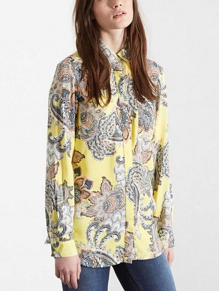 New Fashion Vintage Ladies'  Blouse Long Sleeve Contrast Color Floral Print Casual Women Yellow Shirts Lady Tops Brand Blusas