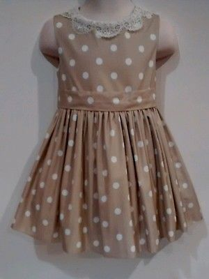 NEW Neiman Marcus 24m Toddler's Girls 2p Beige Polka Dot Dress Outfit