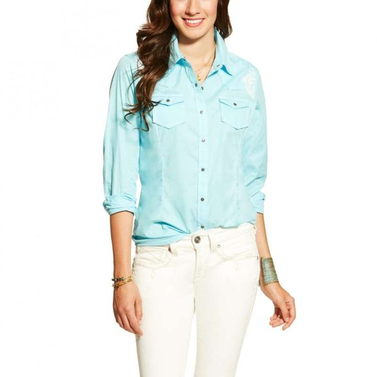 ARIAT LADIES MYRNA SNAP SHIRT Bring a change to your general style with the elegant embroidery displayed on the back and shoulders of this Ariat shirt.  $99.95