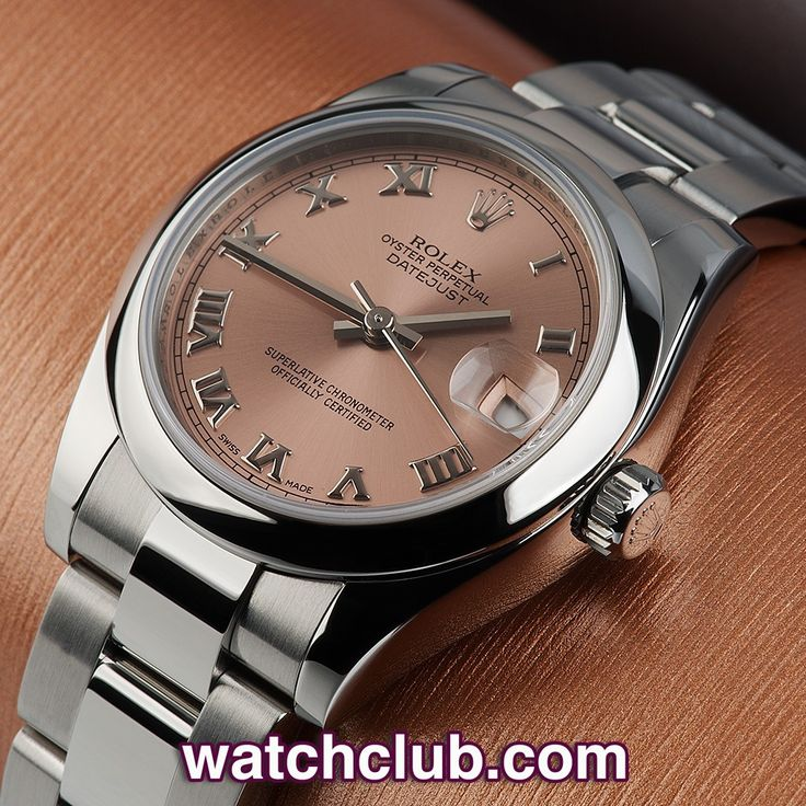 """Rolex Datejust Mid-Size - """"Latest Model"""" REF: 178240   Year Jan 2007 - In superb condition and sporting the elegant salmon pink dial with white gold Roman numerals, this latest midi Datejust is a real favorite!...In the ever-popular 31mm case size with smooth polished bezel, this smart stainless steel Oyster bracelet watch with polished centre link can be dressed up or down for any occasion - for sale at Watch Club, 28 Old Bond Street, Mayfair, London"""