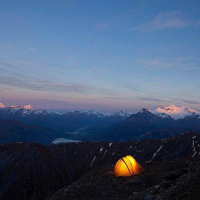 Image of the Day - High camp on the flank of Black Peak - By Derek Morrison - #derekmorrison #boxoflight #queenstownnz #southislandnz #tent #camping #greatoutdoors #photonz #photonewzealand #potd #photooftheday
