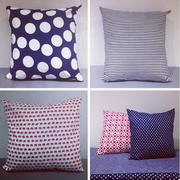 Navy, red & white cushions