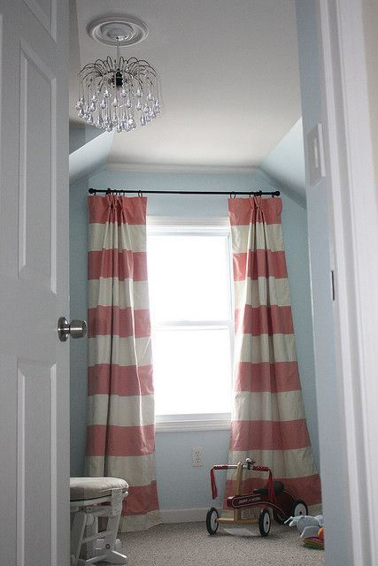 Love The Pink Coral Wide Stripe Curtain Against Blue Walls