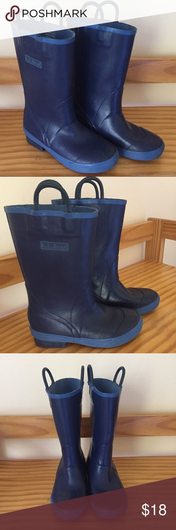 LL Bean puddle jumper rubber rain boots ☔️ 🌈 Take that, puddles! Prepare your child for a rainy day with these L.L. Bean Puddle Stomper Rain Boots. Dark blue with lighter blue trim. Pre-owned, but still have a lot of use left in them. Size 13. Measurements available upon request. L.L. Bean Shoes Rain & Snow Boots