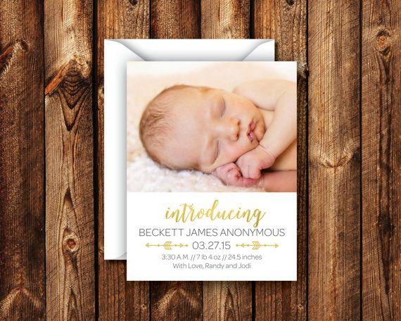 Birth Announcement Custom Colors Newborn Announcement Photo Card Welcome New Baby Announcement Gold Baby Boy Baby Girl - DIGITAL or PRINTED