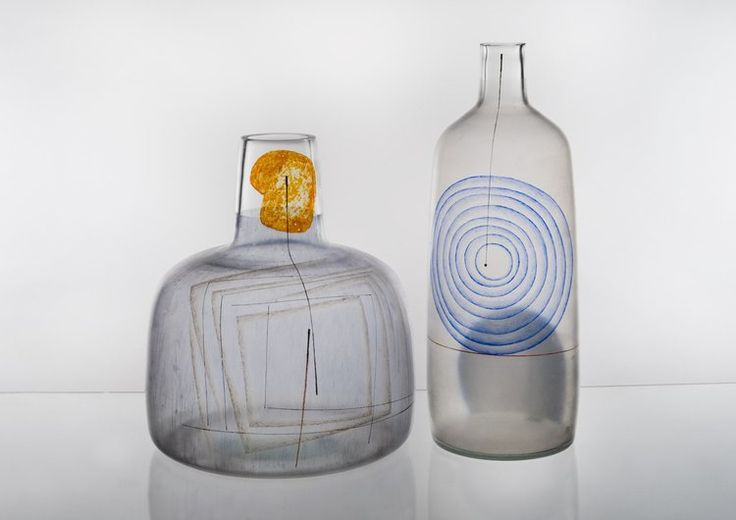 Karel Vanura, glass vases designed for Expo'67 exhibition in Montreal, 1967, H: 33,5 + 42,0 cm