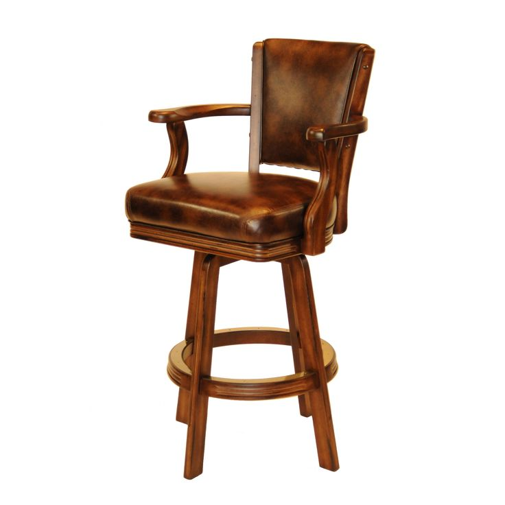 Sophisticated Brown Leather Bar Stool with Back http://www.BilliardFactory.com/Louis-Bar-Stool