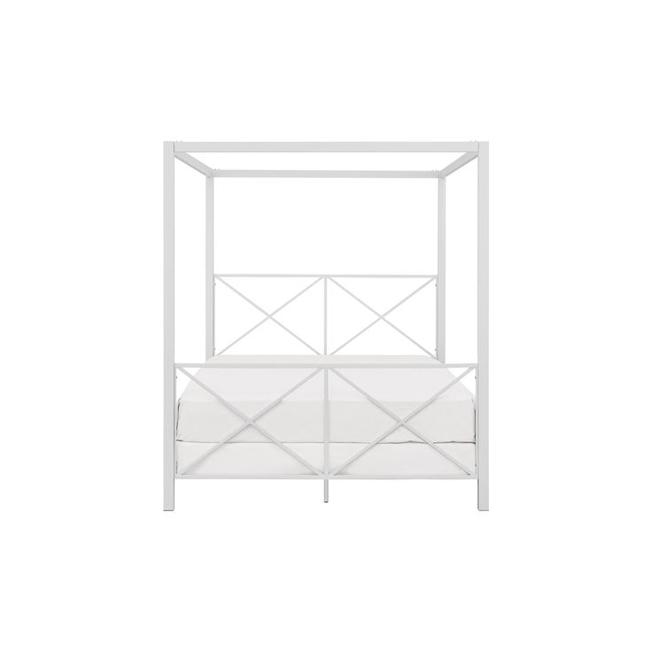 Rosedale Metal Canopy Bed - Queen - White -Dorel Home Products