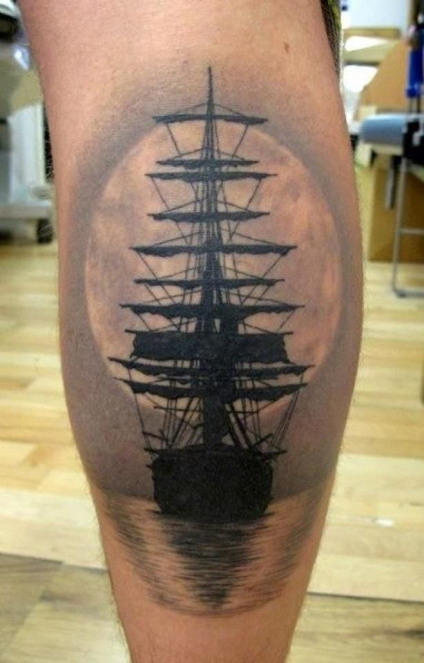 Grey And Black Ink Boat Tattoo On Back Leg Calf